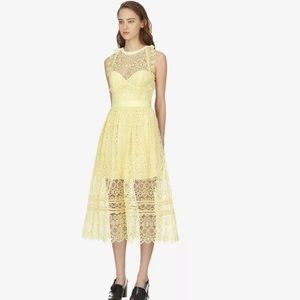 New self portrait yellow lace dress us4/S